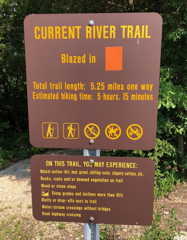 Current River Trail at Echo Bluff State Park Trailhead sign