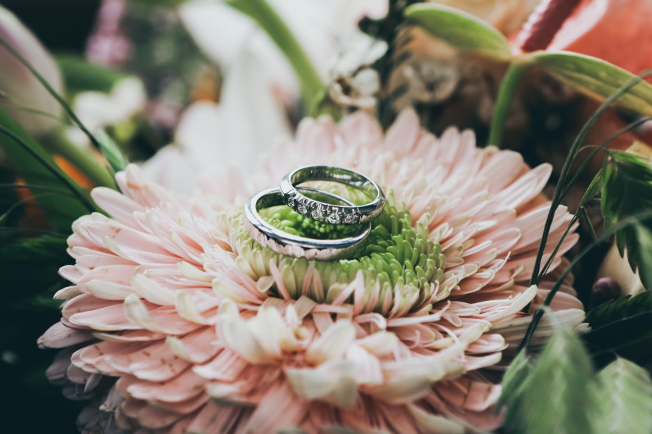 What you can expect when your child gets married - Wedding bands on flowers
