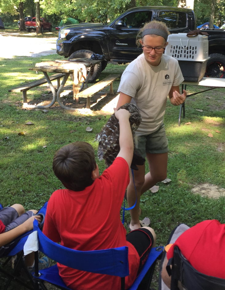 Parenting through the scout laws Scouts learning about birds. Petting owl
