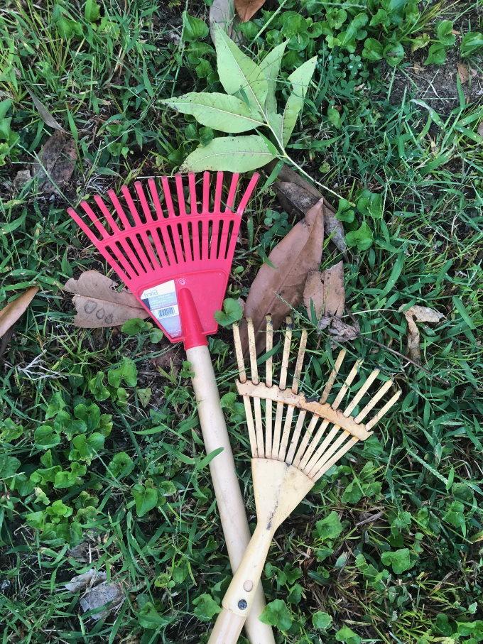Fall backyard activities for toddlers Raking leaves