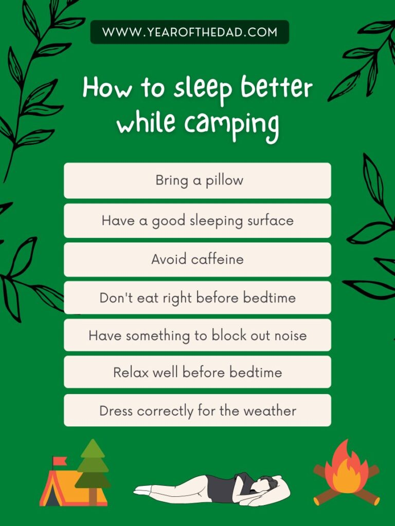 How to sleep better while camping - infographic